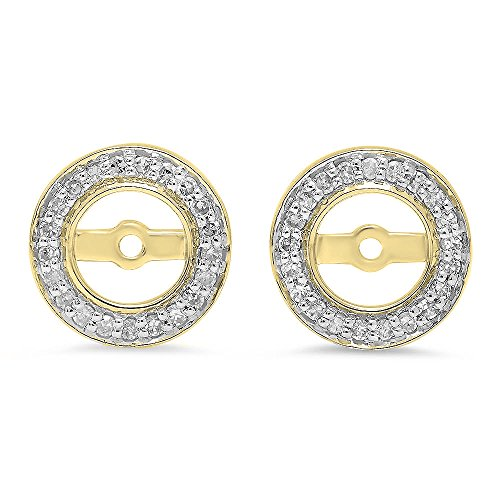 - Dazzlingrock Collection 0.20 Carat (ctw) 10K Round White Diamond Removable Jackets For Stud Earrings 1/5 CT, Yellow Gold