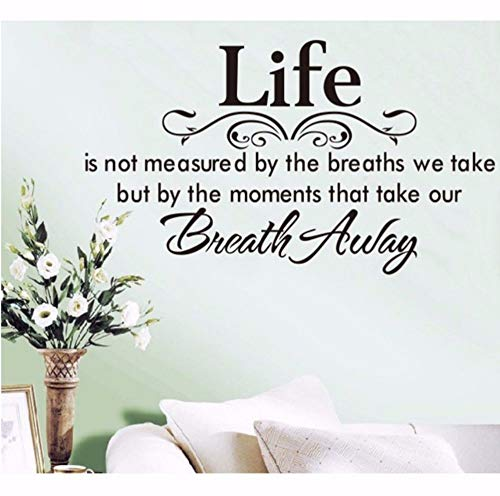 Dalxsh Life Wall Decal Removable Home Family Quote Wall Sticker Breath Away Wall Art Mural Living Room Wall Vinyl Sticker -