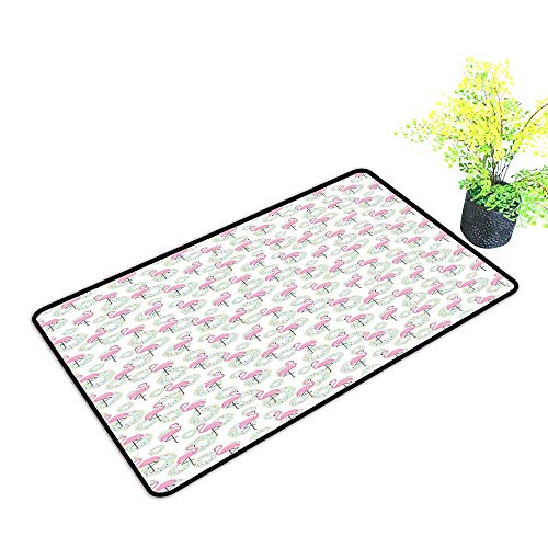 Zmstroy Fashion Door mat Flamingo Pink Flamingos and Donuts Tropical Hawaiian Animals Delicious Desserts W24 xL35 Super Absorbent mud Pink Mint Green Beige