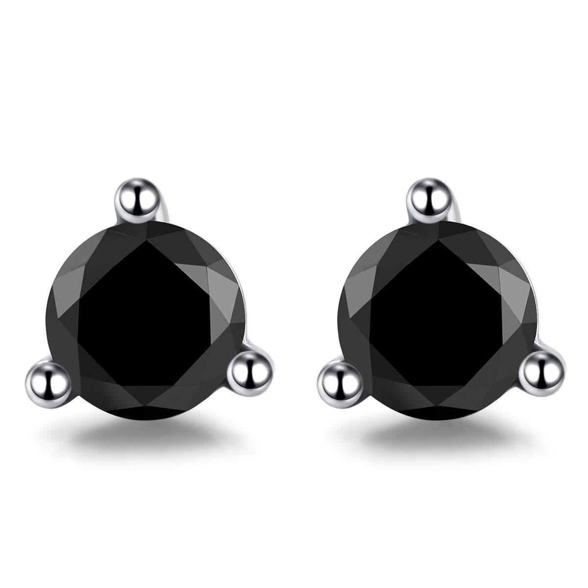 Vignye Sterling Silver Circular Cut Cubic Zirconia Stud Earrings Fashionable Black Triangle Zirconia Earrings