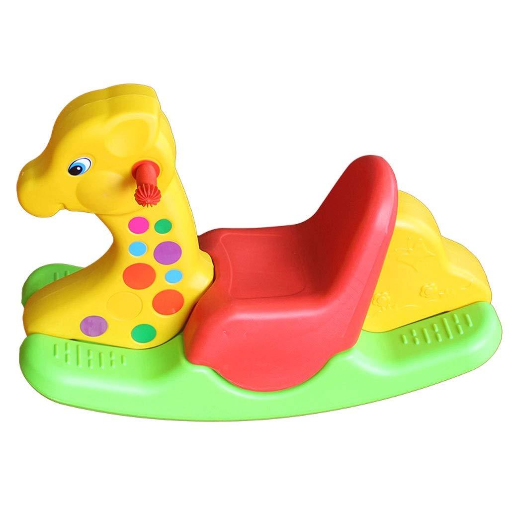 Gelb 84x30x52cm YangMi Hölzernes Pferd der Kinder- Innen- und im Freienkarikatur-dickes Plastikpony-Spielzeug, Dreifarbiges Tierkippspielzeug der Kinder 2-6 Jahre alt (Farbe   Gelb, größe   84x30x52cm)