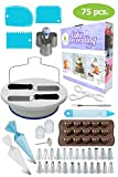 Cake Decorating Kit All in 1 by Pominelle - Cake Decorating Supplies, Cake Turntable, Piping Bags, Russian Piping Tips Set, Cake Scraper, Cake Leveler - 75 Pieces