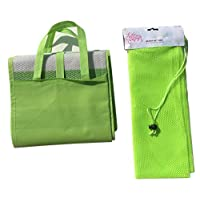 Ultra Light Compact Foldable Woven Green Travel Beach Mat with Inflatable Pillow Handle Strap and Drawstring Mesh Net Gear Bag Gift Set for Picnic, Beach, Camping, Hiking, Outdoor Sports and More