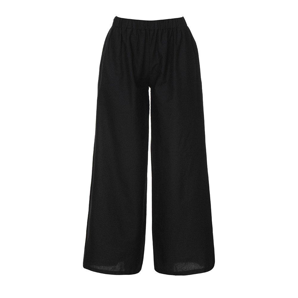 Women Summer Wide Leg Baggy Elastic Waist Plain Harem Pants Loose Linen Trousers (L, Black)