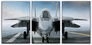 """Gracelapin Modern Canvas Painting f 14 Tomcat Fighter Jet on Carrier Deck Military aircrafts and Wall Art Artwork Decor Printed Oil Painting Landscape Home Office Bedroom Framed Decor (16""""x24""""x3pcs)"""