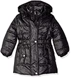 Pink Platinum Little Girls' Spray Foil Long Puffer Jacket, Black, 4