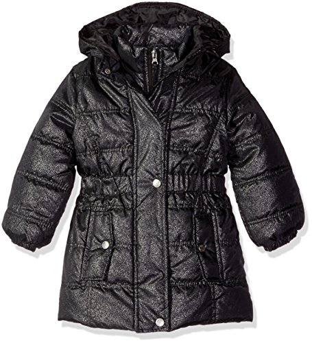 Pink Platinum Little Girls' Spray Foil Long Puffer Jacket, Black, 4 by Pink Platinum