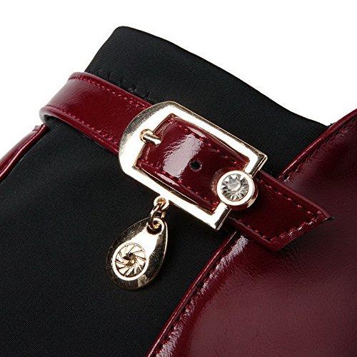 Zipper Weiches High Heels Damen geschlossene Zehe Material Claret AgooLar Solide Runde Boots nxfpqWz
