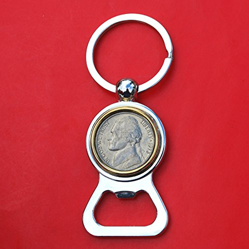 US 1973 Jefferson Nickel 5 Cent BU Uncirculated Coin Gold Silver Two Tone Key Chain Ring Bottle Opener NEW ()