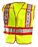 OccuNomix LUX-PSF-YXL/2 Public Safety Fire Vest, XL/2X-Large, Yellow/Red