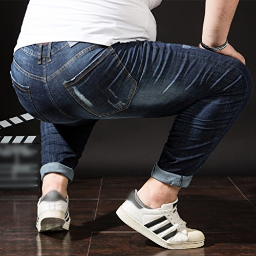 Vita Uomo Jeans Pantaloni Grossa Alta Denim Taglia Elasticità Blu Tempo Libero Straight Heheja 5fIawWqdxw