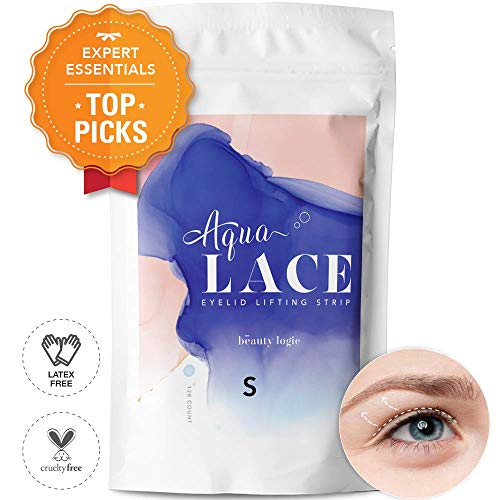 Beauty Logic Ultra Invisible Aqua Lace Eyelid Lifting Kit - SELF ADHESIVE, LATEX FREE - Instant Eyelid Lifting Tape perfect for hooded, droopy, uneven or mono-eyelids, NO GLARE GUARANTEED-Small