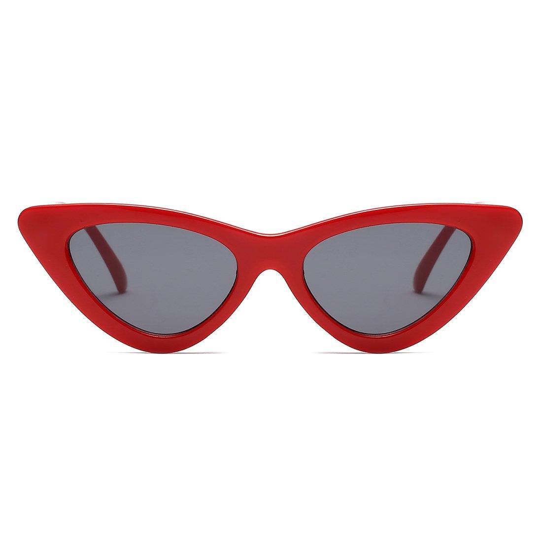 39d07c2676 Amazon.com  Kimorn Cat Eye Sunglasses Women Clout Goggles Kurt Cobain Retro Sun  Glasses K0566 (Red Black)  Clothing