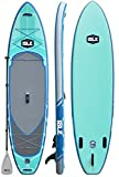 ISLE Airtech Inflatable Explorer Stand Up Paddle Board (6' Thick) iSUP Package | Includes Adjustable Travel Paddle, Carrying Bag, Leash, Pump (gray, 11)
