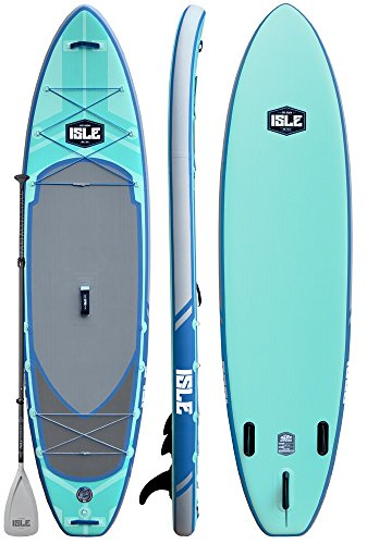 ISLE Airtech Inflatable Explorer Stand Up Paddle Board (6' Thick) iSUP Package | Includes Adjustable...
