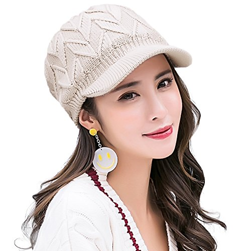 SIGGI 100% Wool Knitted Newsboy Cap Beanies with Visor Bill Cold Weather Winter Hat Ladies -