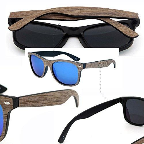 Bambou bleu Noyer BOZEVON UV400 de Mode Unisexe Frame soleil Rétro Noir Lunettes qPOtwP