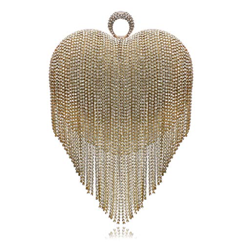 Handbags JUZHIJIA Luxurious Shaped Tassels Small Evening Heart Parties Celebrities Fringed Banquet Golden Dress UZwU6nTq1