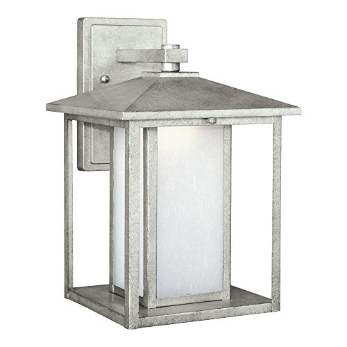 Sea Gull Lighting 8903191S-57 Hunnington LED Outdoor Wall Lantern with Etched Seeded Glass Panels, Weathered Pewter Finish For Sale