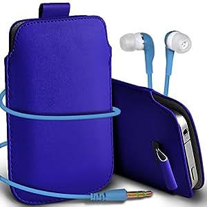 Direct-2-Your-Door - Nokia Lumia 920 Prima protección PU Tire de la cubierta del caso Tab bolsa deslizamiento del cordón en el bolsillo y los 3.5MM a juego del auricular del auricular auriculares - azul oscuro