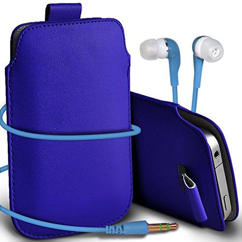 N4U Online - Apple Iphone 5 Prime de protection PU cuir Pull Tab cordon glisser la peau Pouch Pocket Housse & Matching casque 3,5 mm écouteurs écouteurs - Bleu Foncé