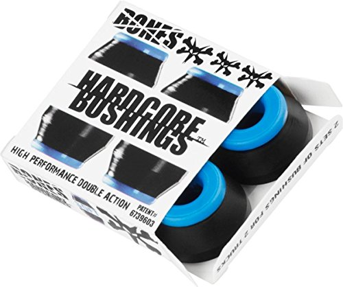Bones Wheels Hardcore Black / Blue Skateboard Bushings - Includes 4 Pieces - Soft by Bones Wheels & Bearings