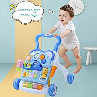 OKBOP Sit-to-Stand Learning Walker with Wheels, 3 in 1 Baby Walker Stroller Cart, Piano Drum Toys, Kids Activity Center Table, Toddler Push Pull Walker Toy with Light Music (Blue)