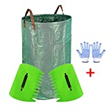 JzNova Garden Waste Bag with 2 Leaf Scoops and 2 Antiskid Gloves - 32 Gallons Reusable Collapsible Gardening Yard Lawn and Leaf Waste Bag, Hand Leaf Rakes and Leaf Collector for Garden Rubbish