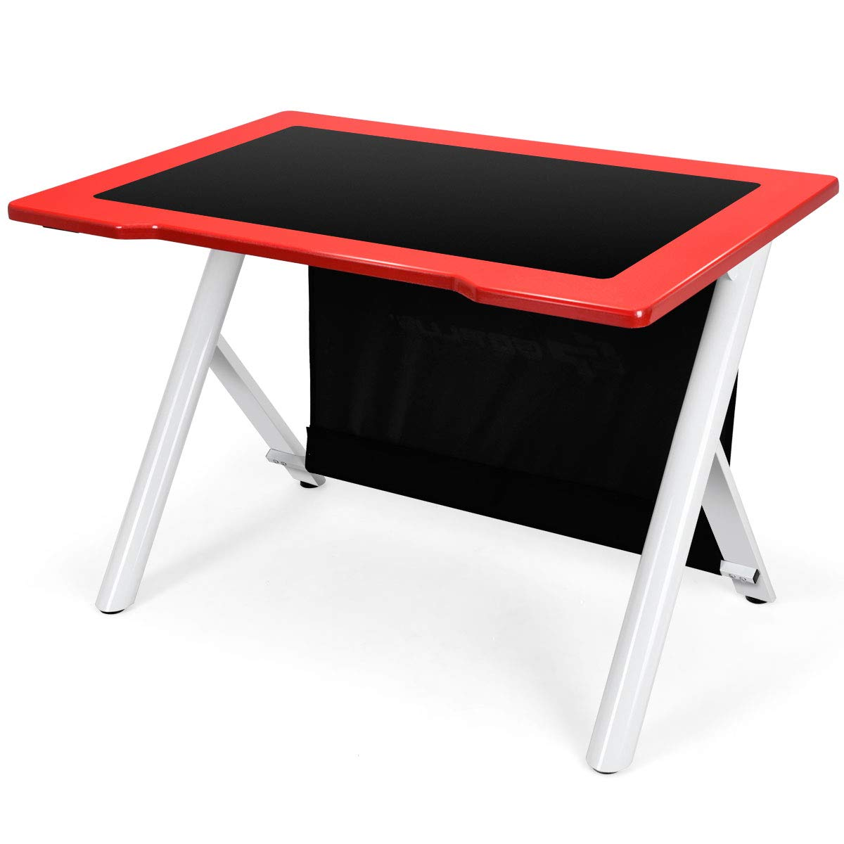 Giantex Gaming Desk, E-Sports Computer Desk Table with Large Ergonomic Surface and Heavy Duty Construction for Home or Office, Gaming PC Desk Table Red Black