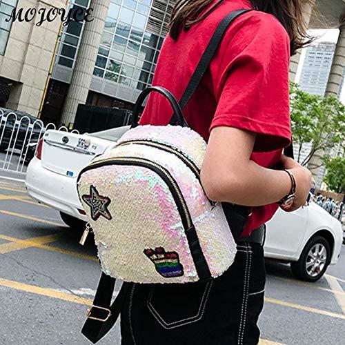 White casual Donne VHVCX moda Zipper per adolescenti borse libero partito scuola Zaini viaggio femmine tempo Paillettes brillanti di Zaino UqqwH6