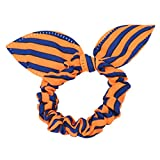 1PC Rabbit Ears Stripes Hair Ring Orange&Blue (A)
