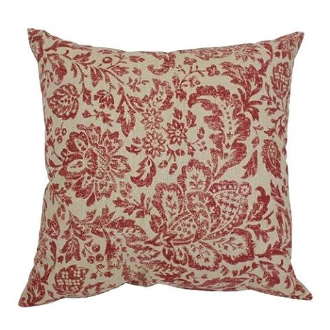 Pillow Perfect Damask Decorative Square Toss Pillow, 16-1/2-Inch, (Tan Toss Cuscino)