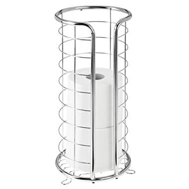 mDesign Decorative Metal Free Standing Toilet Paper Holder Stand with Storage for 3 Rolls of Toilet Tissue - for Bathroom/Powder Room - Holds Mega Rolls - Chrome