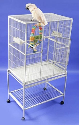 HQ 32x21 Flat Top Aviary Bird Flight Cage w Stand Green by Hq