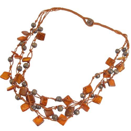 Ladies Orange Red Three Layer Braided Square Shape Beads Chain - Bead Braided Chain