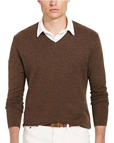 Sweater Herringbone V-neck (Polo Ralph Lauren Mens V-Neck Herringbone Sweater Brown XS)