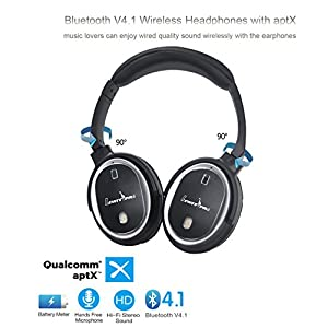 Liwithpro Active Noise Cancelling Bluetooth Headphones-Wireless Wired Over Ear Stereo Headset with Microphone aptX Hi-Fi Deep Bass, 30H Playtime for Travel Work iPhone and Android Smartphone - Black