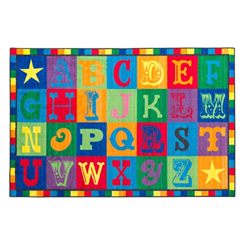 Flagship Carpets CE191-22W Early Blocks Rug, All 26 Letters Provides a Unique Learning Spot for Everyone, Children's Classroom Educational Carpet, 4' x 6', 48