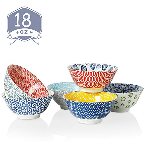 Amazingware Porcelain Bowls - Perfect for Cereal, Soup, Salad and Pasta, Set of 6, Assorted Designs