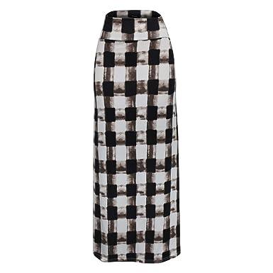 Vectry Mujer Cintura Alta Checkered Impresióned Bodycon Comfort ...