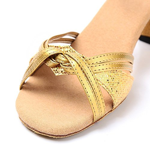 Minetom Women Girls Dance Shoes Summer Sandals Latin Tango Samba Dancing Shoes golden kTHuGU93p