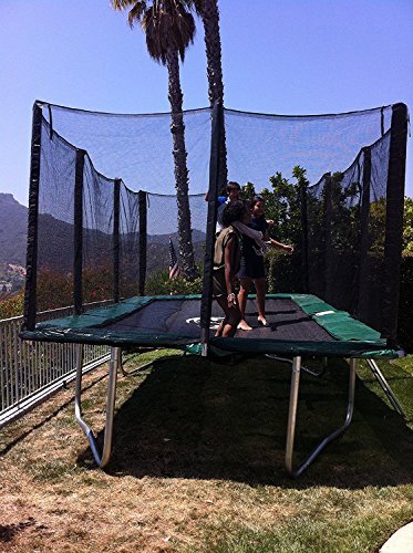 Happy Trampoline - Galactic Xtreme Gymnastic Rectangle Trampoline with Safety Net Enclosure - Heavy Duty Commercial Grade - 550 lbs Jumping Capacity on Frame & Springs, 10 X 17 Ft