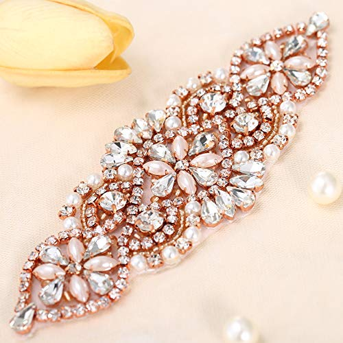 Elegant Handmade Wedding Rhinestone Applique with Pearls for Dresses and Bridal Belts or Headpieces-Beaded Rhinestones Sewing or Hot Fix-Rose Gold-1 Piece-(5.5