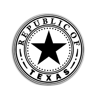 American Vinyl B/W Round Republic of Texas Seal Sticker (Vintage State tx Insignia Logo Old): Automotive