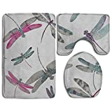 Bathroom Non-Skid Carpet Bath Rugs 3 Pieces Set Water-Absorbing Dragonfly-dance-wallpaper Flannel Toilet Floor Bath Mats Contour Rug Lid Cover
