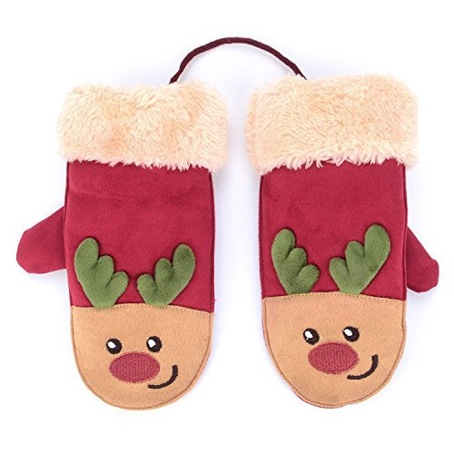 Flammi Kids Winter Faux Suede Mittens with String Cartoon Christmas Reindeer Plush-lined Cuffed Mittens