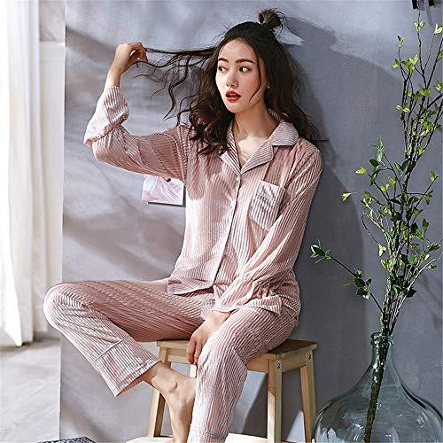 Otoño Dorado Suave M Xl Terciopelo Piezas Home Sports Wear Conjunto Manga Baijuxing Loose Larga Cómoda Student Pijamas Casual De 2 Mujer nxXRqgEt