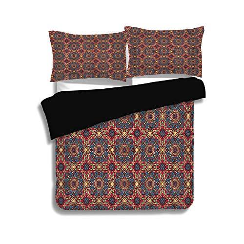 iPrint Black Duvet Cover Set King Size,Vintage,Arabesque Middle East Ottoman Oriental Famous Carpet Patten Like Glass Artwork,Multicolor,Decorative 3 Pcs Bedding Set by 2 Pillow Shams -