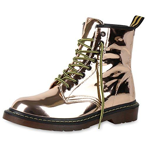 napoli-fashion Damen Stiefeletten Worker Boots Lack Profilsohle Boots Schuhe Jennika Rose Gold
