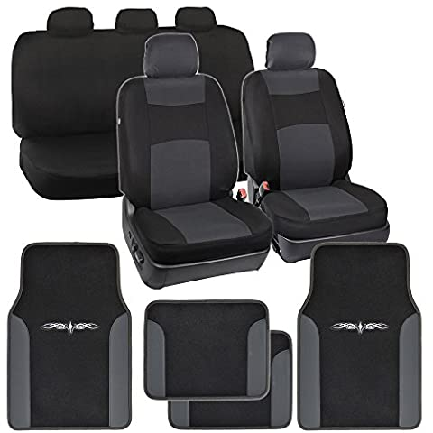 Charcoal Polyester Cloth Seat Covers for Car SUV & Charcoal Tribal Carpet Mats (2012 Honda Fit Seat Covers)